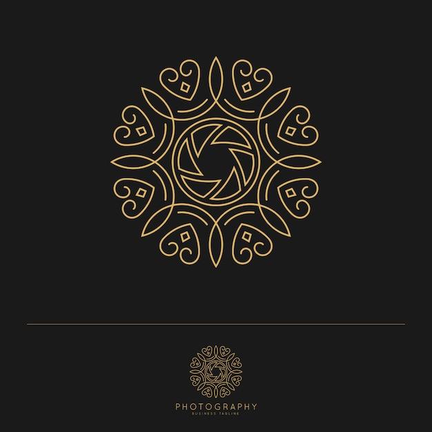 Элегантный роскошный шаблон фотографии логотип. Premium векторы