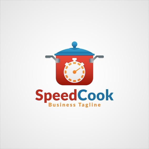 スピードクック-プロフェッショナルファーストフードレストランロゴ Premiumベクター