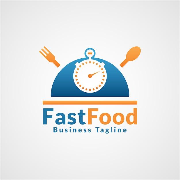 ファーストフードサービスレストランまたはファーストフード配達サービスレストランロゴのファーストフードロゴ Premiumベクター