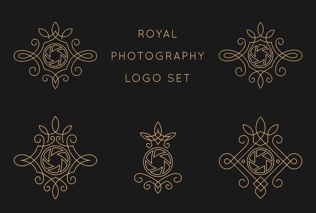 Королевская фотография логотип набор шаблонов дизайна Premium векторы