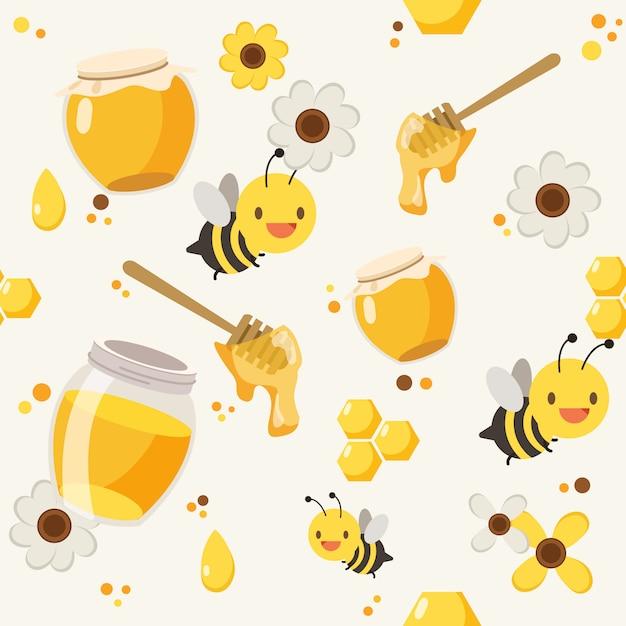 Мед пчелы узор фона Premium векторы