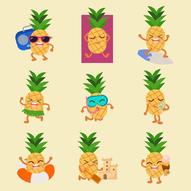 Персонаж из ананасового летнего набора Premium векторы