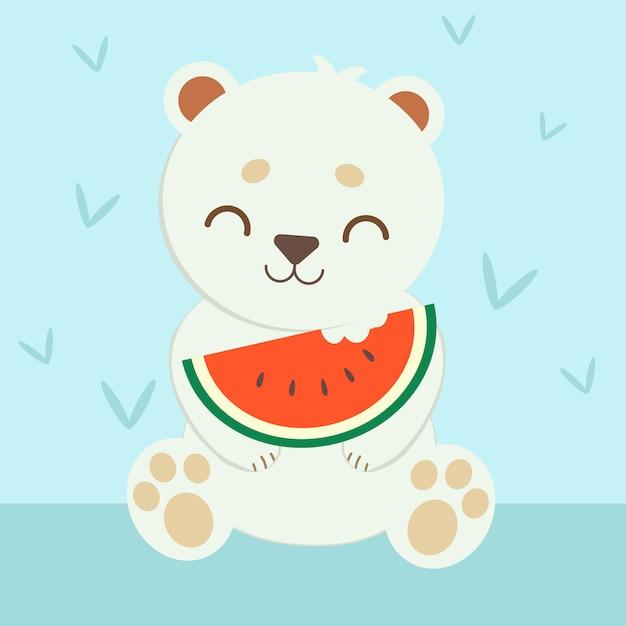 Белый медведь ест арбуз Premium векторы