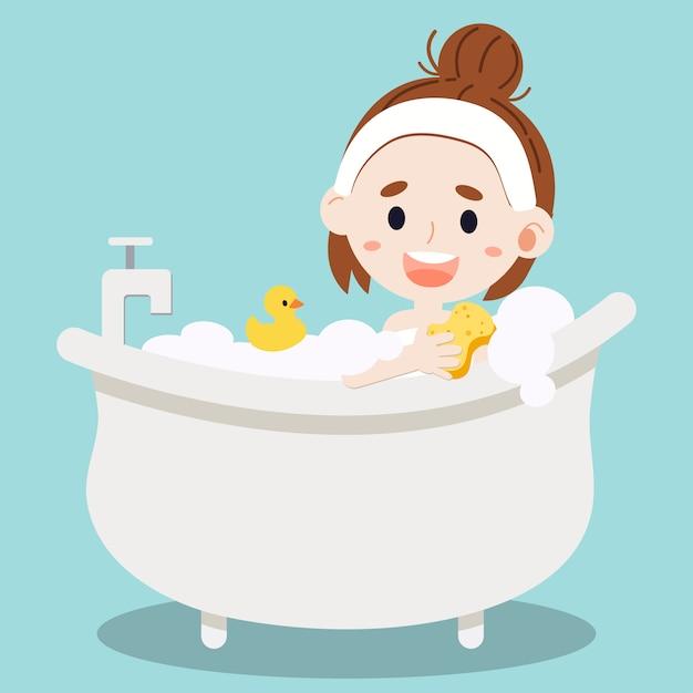 女性が入浴します。 Premiumベクター