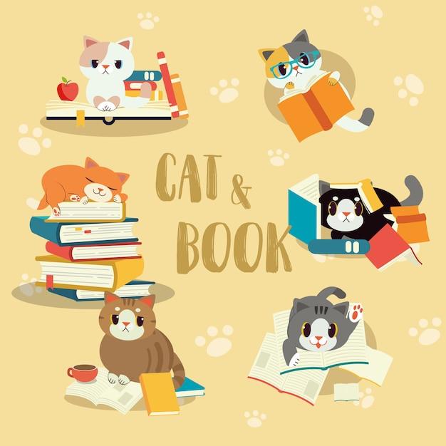 Коллекция кошек с книжным набором Premium векторы