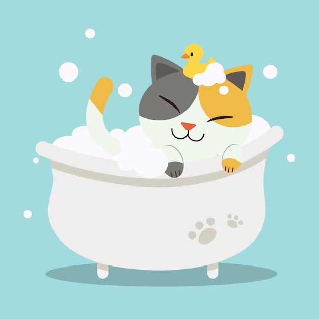 バスタブで横になっているかわいいキャラクター漫画猫 Premiumベクター