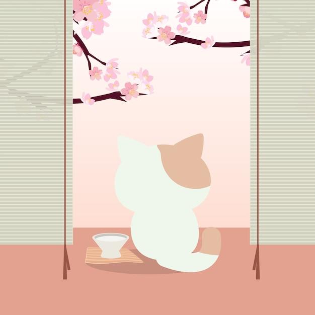 花見まつり。猫と日本の桜祭り Premiumベクター