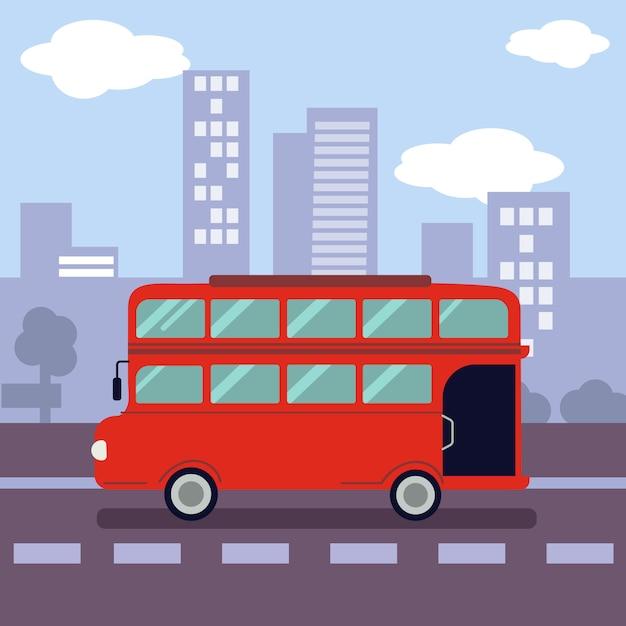 都市のシンボルの形をした赤い二階建てバスのイラスト。 Premiumベクター