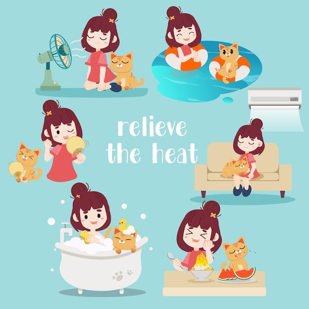 暑さを和らげるのコレクション。猫と一緒にお風呂に入っている女性。彼らはソファーに一緒に座っていて、エアコンを持っています。彼らは水中を泳いでいます。彼らはファンの前に座っていました。 Premiumベクター