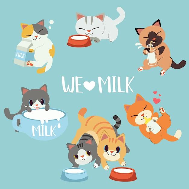 Коллекция милого кота люблю молоко. какой-то кот обнимает бутылку молока и коробку на полу. Premium векторы
