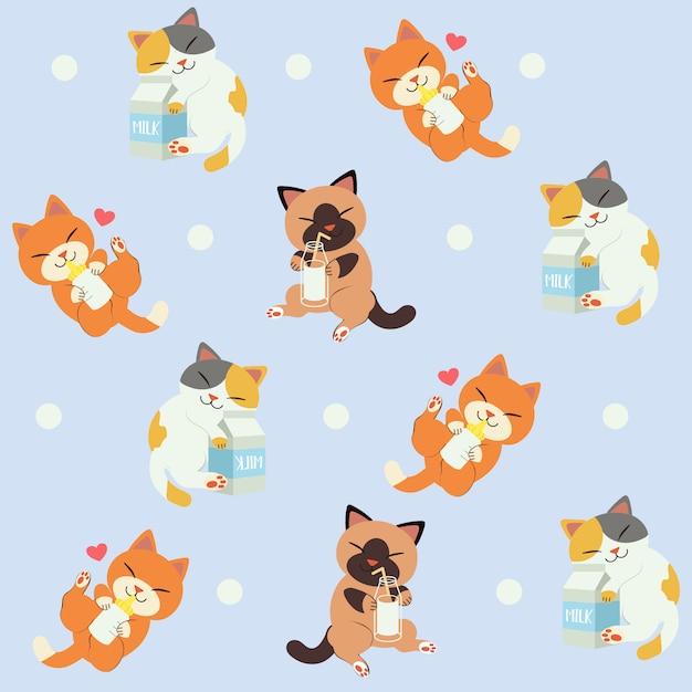 猫のシームレスパターンは牛乳が大好きです。猫のかわいいキャラクター Premiumベクター