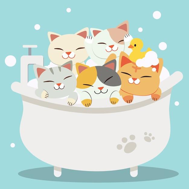 彼らが非常に幸せそうに見える浴槽で入浴するキャラクターかわいい猫のグループ Premiumベクター