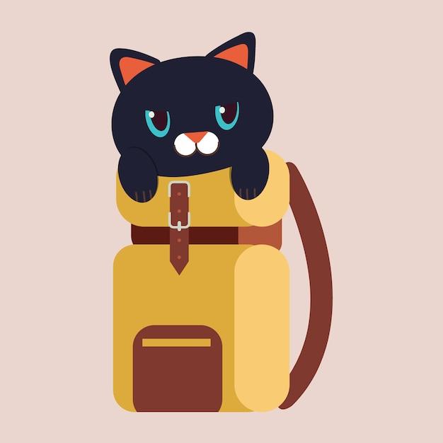 Персонаж симпатичного черного кота в дорожной сумке. Premium векторы
