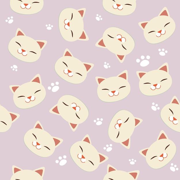 白猫と白の足跡のシームレスパターン。 Premiumベクター