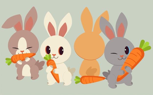ニンジンとかわいいウサギの性格。ウサギはニンジンを抱きしめて食べました。 Premiumベクター