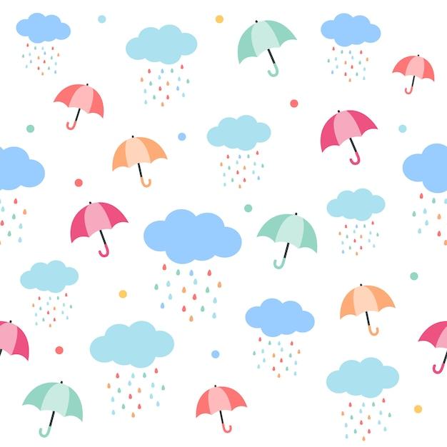 傘と雨の雲のシームレスパターン。傘の模様。雨滴は虹色で雲を形成します。フラットのベクタースタイルでかわいいパターン。 Premiumベクター