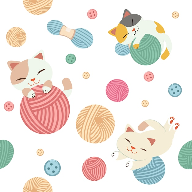 かわいい猫のシームレスなパターンは、糸で遊ぶ。 Premiumベクター