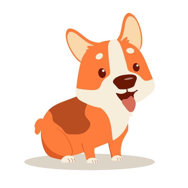 幸せな子犬コーギー Premiumベクター