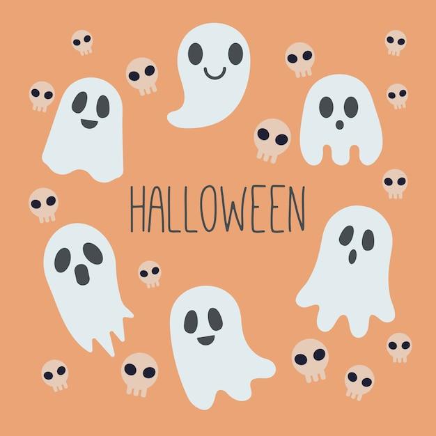 オレンジ色の背景に幽霊と頭蓋骨のパターン背景。幽霊と頭蓋骨のハロウィーンパーティー。 Premiumベクター
