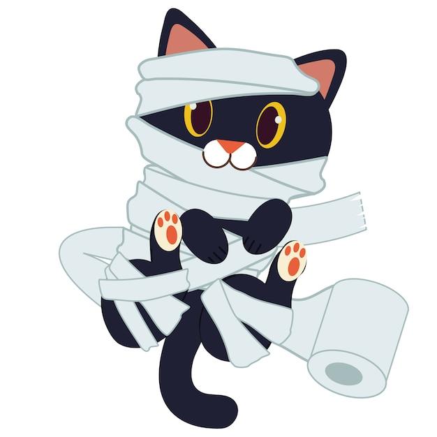 トイレットペーパーとミイラのようなかわいい黒猫のキャラクター。 Premiumベクター