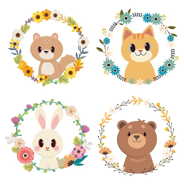 Группа животных с набором цветочных колец. Premium векторы