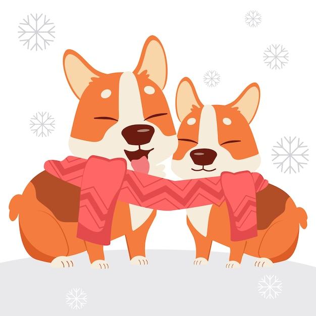 Персонаж милая собака корги носить шарф с другом Premium векторы
