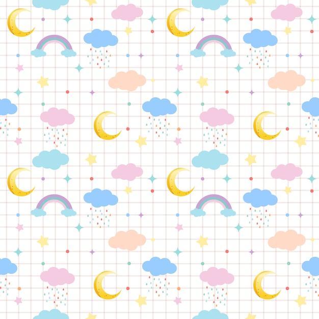 Бесшовный фон из облаков и луны и радуги и звезды в пастельной теме Premium векторы