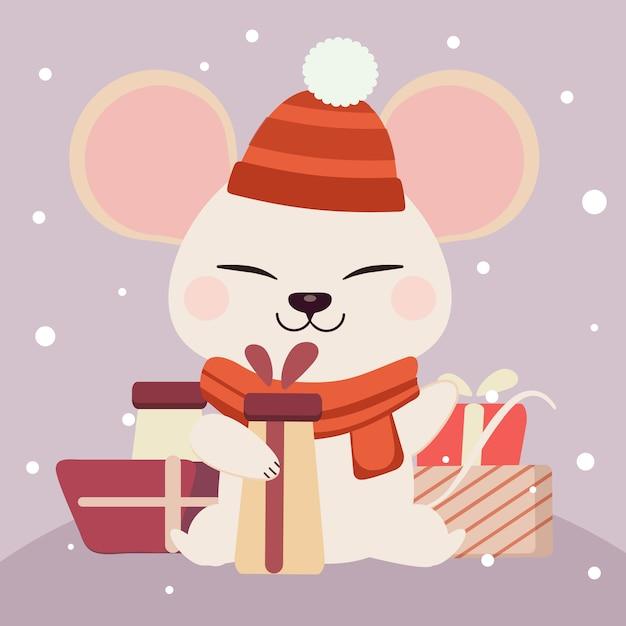 ギフトボックスを保持しているかわいい白いマウスキャラクター Premiumベクター