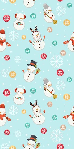 Бесшовный фон из снеговика и рождественский бал и снежинки. Premium векторы