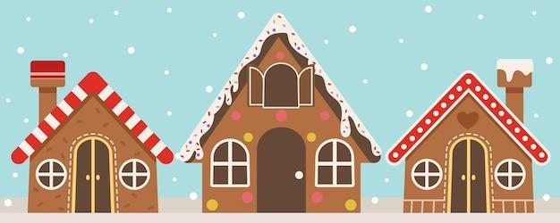 雪が降ったジンジャーブレッドハウスのコレクション。多くの形状設計のジンジャーブレッドハウス。フラットベクトルスタイルのジンジャーブレッドハウス。 Premiumベクター