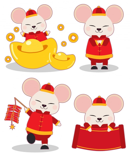 中国の新年のテーマセットのマウスのコレクション。マウスは、お金とクラッカーと紙で中国の服を着ます。フラットベクトルスタイルのかわいいマウスのキャラクター。 Premiumベクター