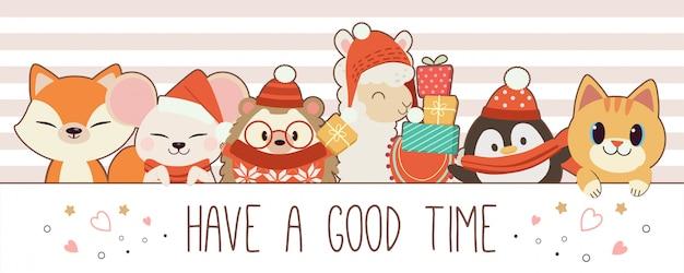 かわいいキツネのキャラクターハリネズミアルパカペンギン猫のテキストで楽しい時間を過ごしてください。冬をテーマにしたかわいい動物。フラットスタイルのかわいい動物のキャラクター。 Premiumベクター