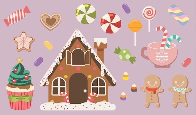 Коллекция симпатичных пряников и конфет, а также кекки и желе, кекс и леденец в наборе. Premium векторы