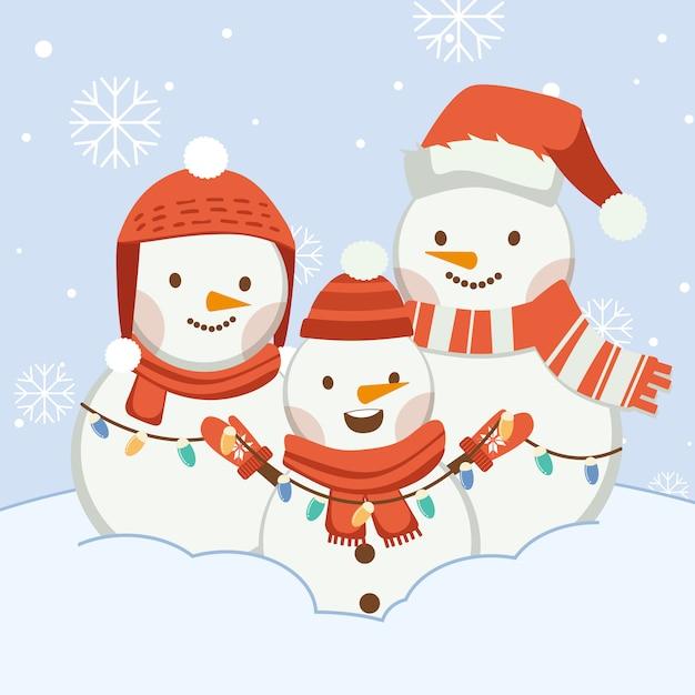 Характер милый снеговик с друзьями или семьей. персонаж милый снеговик носить зимнюю шапку и шарф и зимние перчатки и лампочку в плоском векторном стиле. Premium векторы