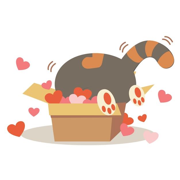 ハートの多い紙箱にかわいい猫のキャラクター。 Premiumベクター