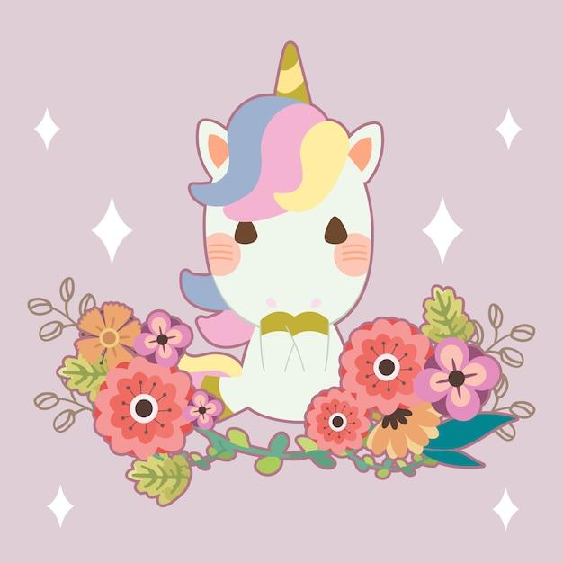 Персонаж милого единорога с цветком на фиолетовом Premium векторы