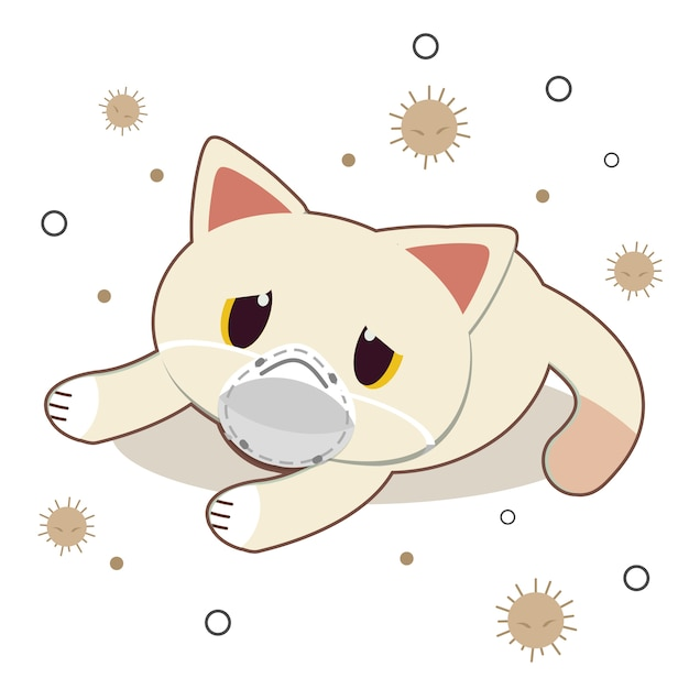 Персонаж милый кот носить маску с пылью на белом Premium векторы