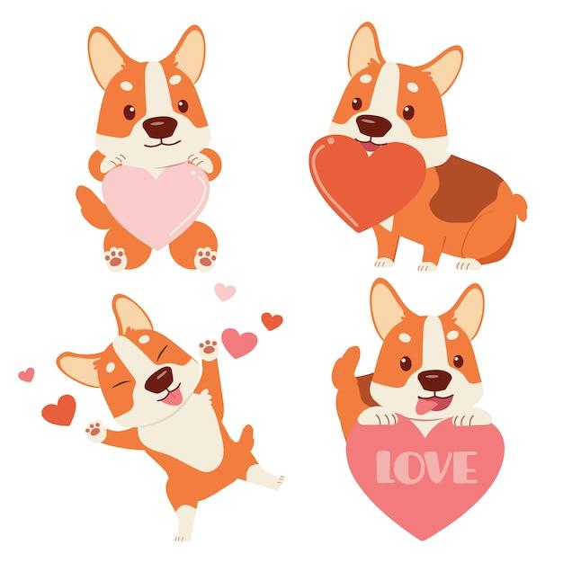 白い背景の上の心でかわいいコーギー犬のコレクション。バレンタインデーをテーマにしたかわいいコーギー犬のキャラクター。フラットスタイルのかわいいコーギー犬のキャラクター。 Premiumベクター