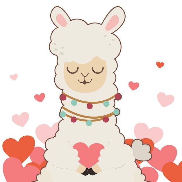 笑顔と心を持ってかわいいアルパカのキャラクター。心を抱くかわいいアルパカのキャラクター。 Premiumベクター