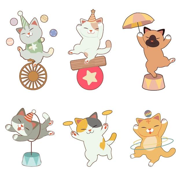 サーカスをテーマにしたかわいい猫のコレクション Premiumベクター