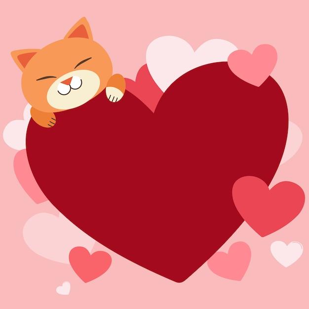 Картинка кот с сердечками