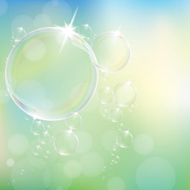 Реалистичные мыльные пузыри Premium векторы