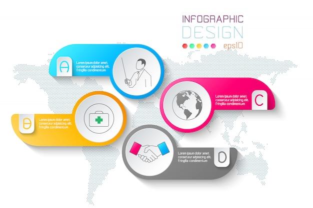 Бизнес этикетки формируют инфографики круги бар. Premium векторы
