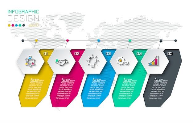 Бизнес шестиугольника этикетки формы инфографики группы бар. Premium векторы