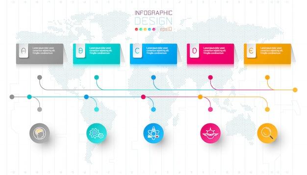 Красочный бизнес прямоугольник этикетки формы инфографики Premium векторы