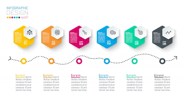 ビジネス六角形ラベル形状インフォグラフィックグループバー。 Premiumベクター