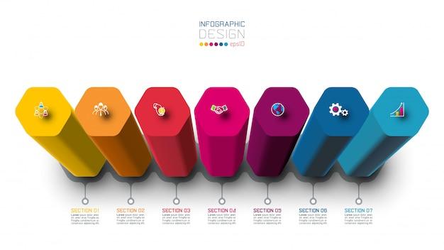 六角形の列のデザインを持つベクターインフォグラフィックラベルデザイン Premiumベクター