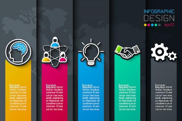 Пять этикеток с бизнес значок инфографики. Premium векторы