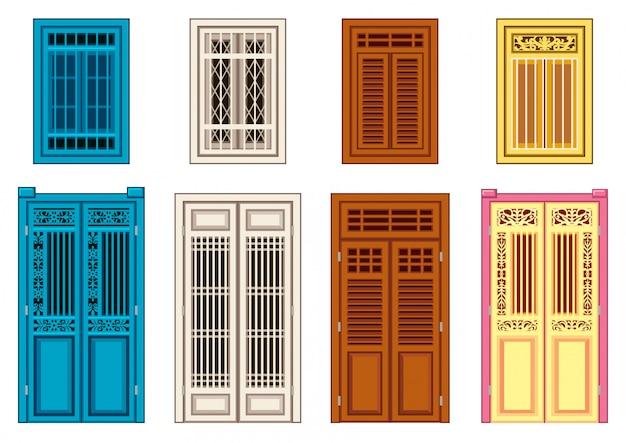 一連の古典的なドアの窓。 Premiumベクター