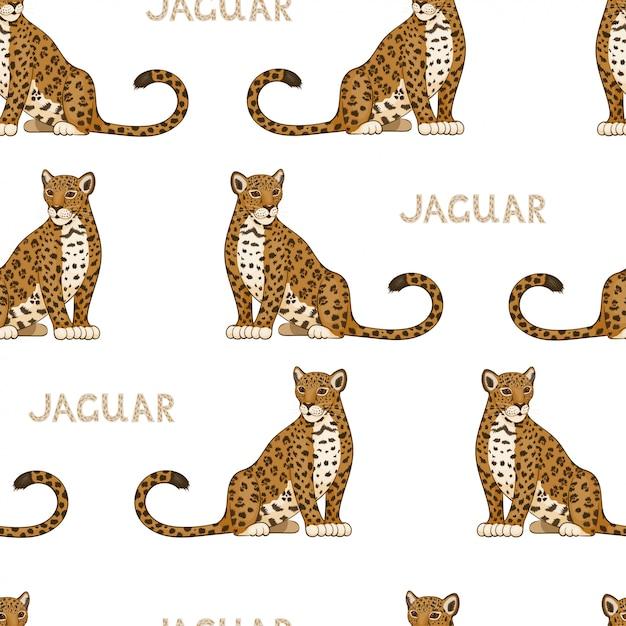 Вектор бесшовный образец с мультипликационными ягуарами. цветной Premium векторы
